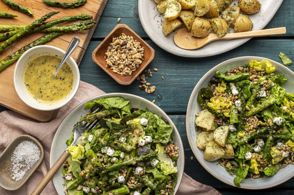 Grilled Asparagus & Feta Salad with Cider Vinaigrette