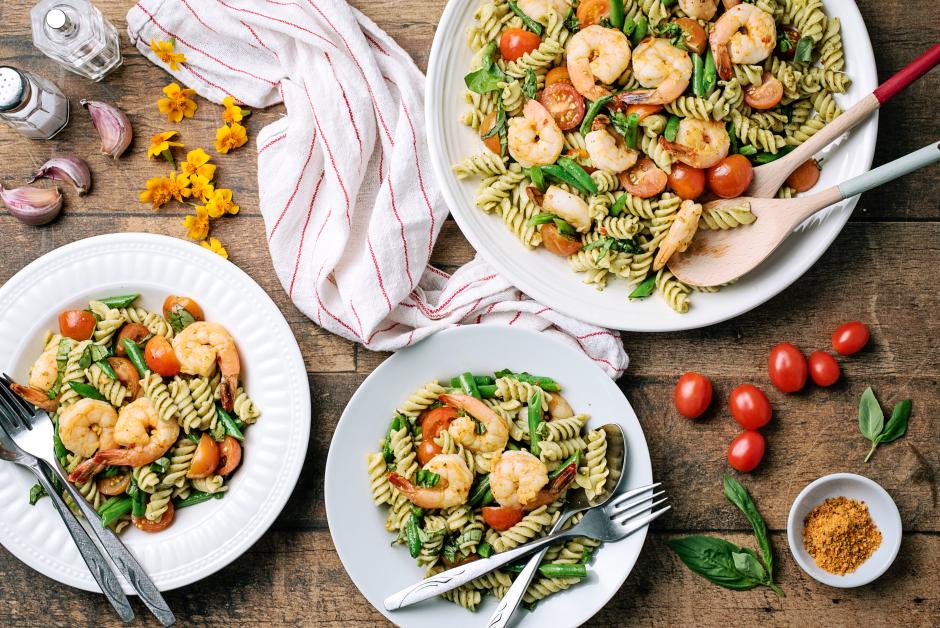 Shrimp with Fresh Basil Pesto Fusilli