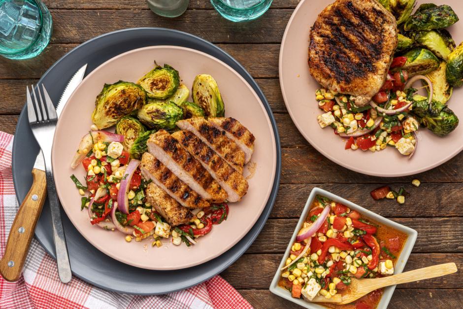 Grilled Pork Chops with Corn, Tomato & Feta Salad