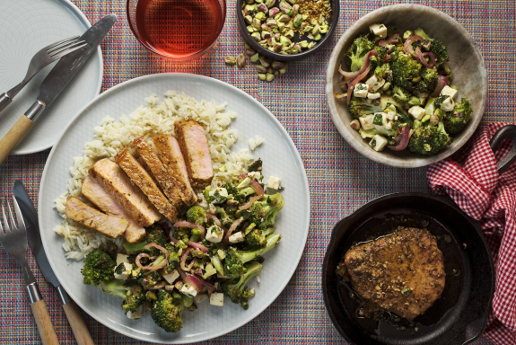 Seared Pork with Broccoli, Feta & Pistachio Salad