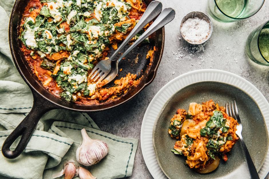 Quick Beef & Spinach Skillet Lasagna