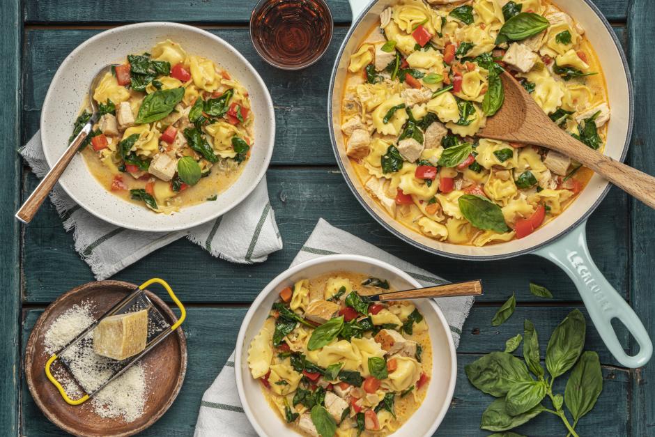Creamy Chicken & Tortellini Soup