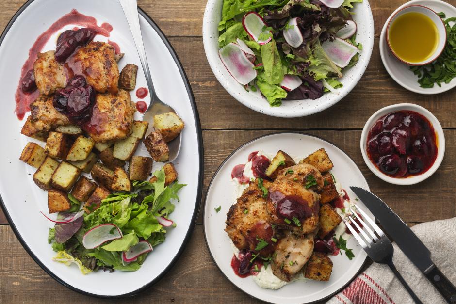 Seared Chicken with Blue Concord Grape Compote