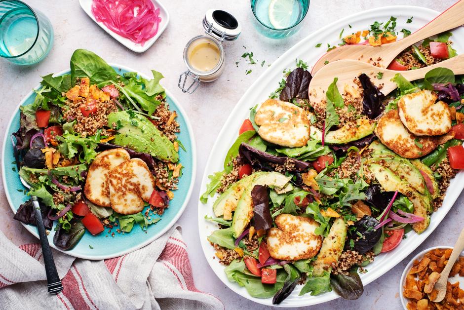 Seared Halloumi & Smoky Coconut 'Bacon' Cobb Salad
