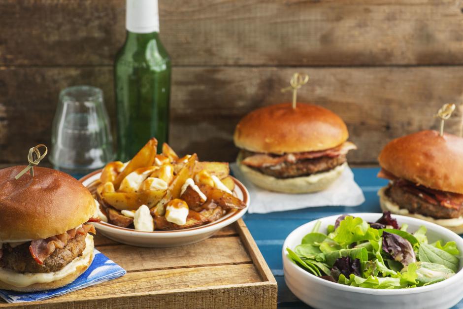 Bacon, Apple & Pork Burgers with Maple-Dijon Mayo