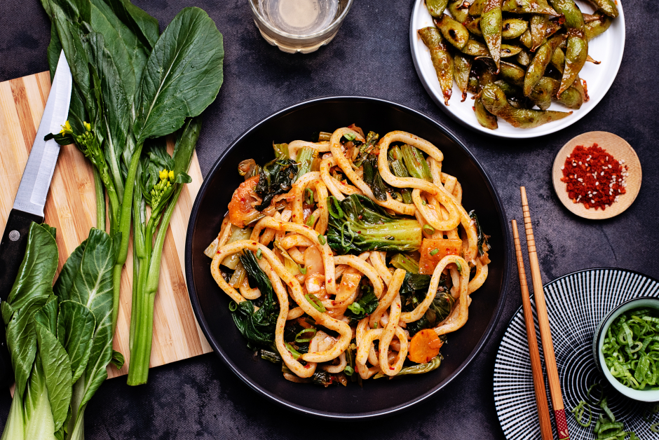 Spicy Kimchi Udon Noodles