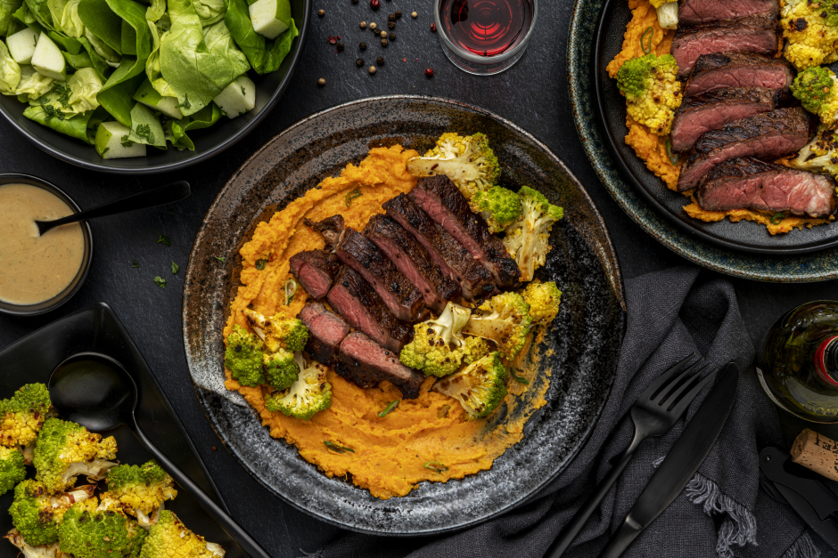 Seared Strip Loin Steak for Two over Sweet Potato Mash