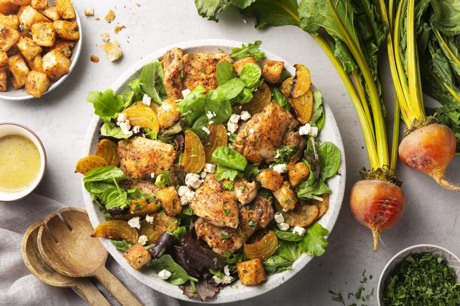 Chicken & Roasted Yellow Beet Panzanella Salad
