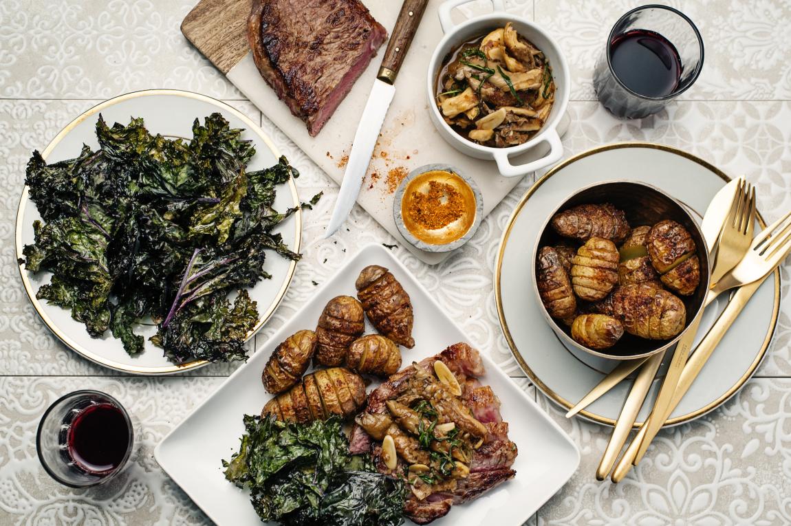 New York Strip Steak with Oyster Mushroom Sauce