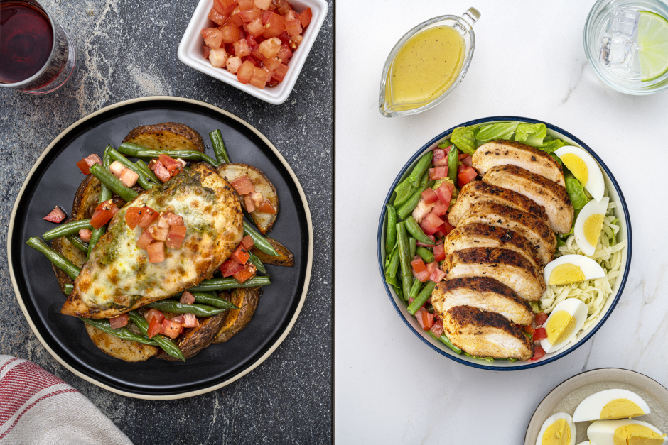 Dinner: Cheesy Pesto Chicken Breasts, Roasted Potatoes & String Beans