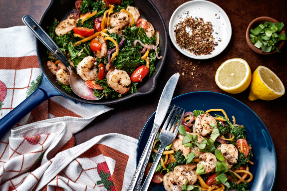 Shrimp with Spiralized Squash 'Pasta'