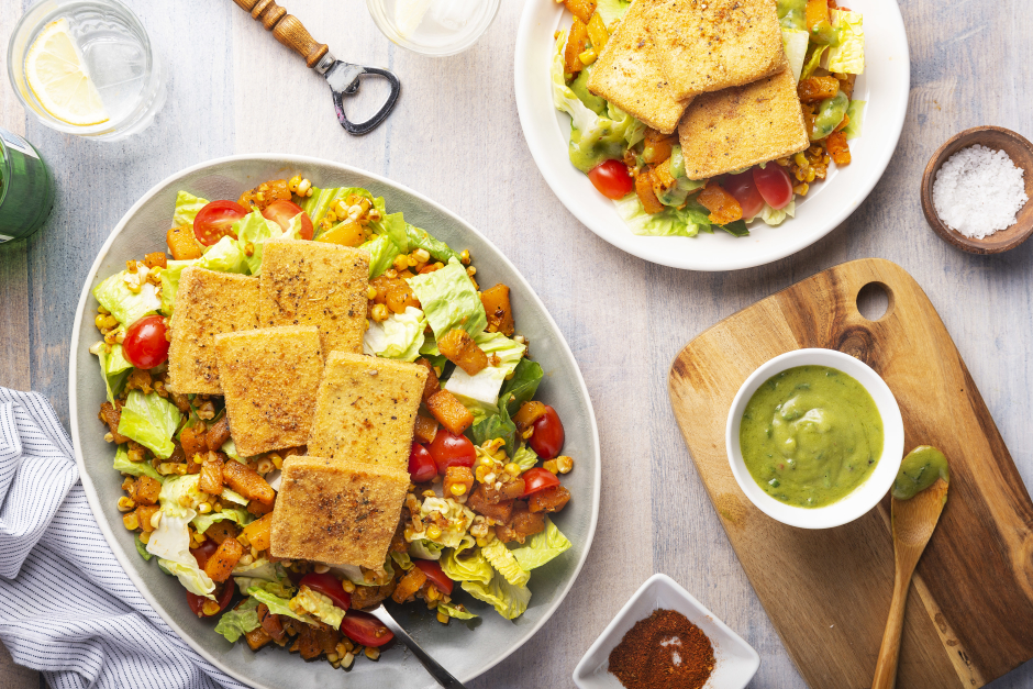 Tofu-Topped Cobb Salad with Roasted Butternut Squash