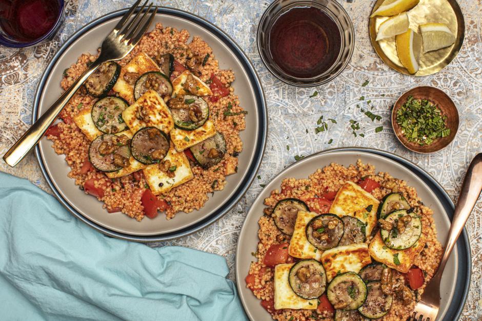 Pan-Seared Halloumi over Turkish-Style Couscous