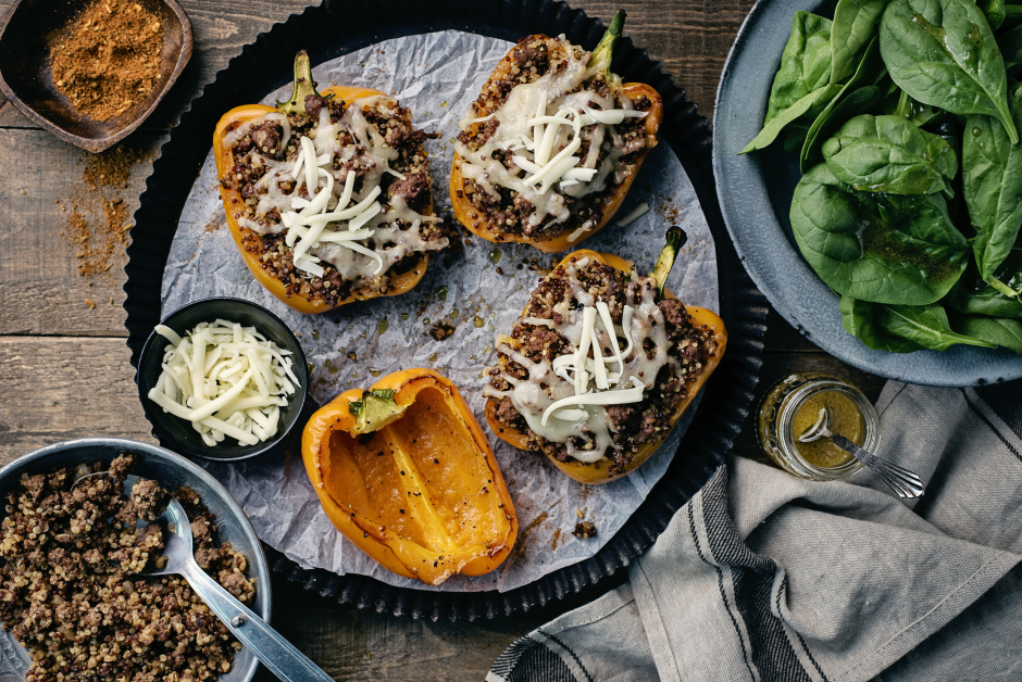 Southwest Beef & Quinoa Stuffed Peppers