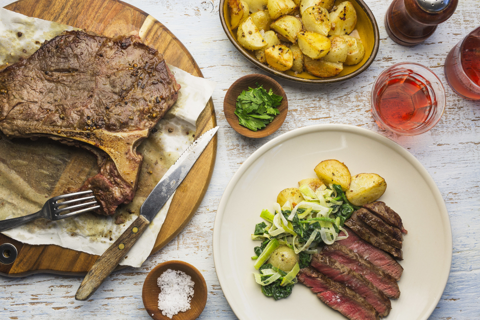 Spice-Rubbed Porterhouse Steak with Parmesan Baby Potatoes