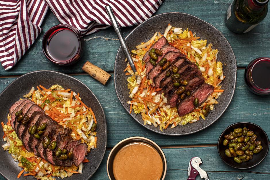 Seared Sirloin Steaks & Korean-Spiced Edamame