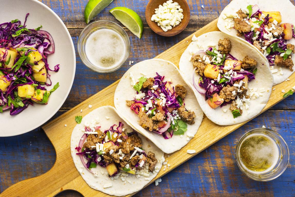 Tacos al pastor avec porc haché
