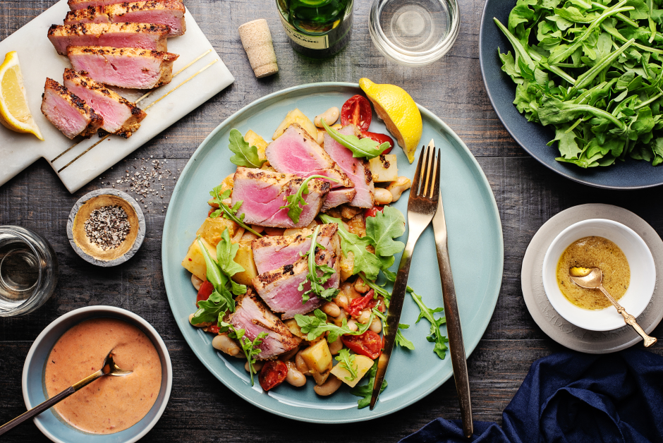Mustard Seared Tuna over Bean & Potato 'Cassoulet'