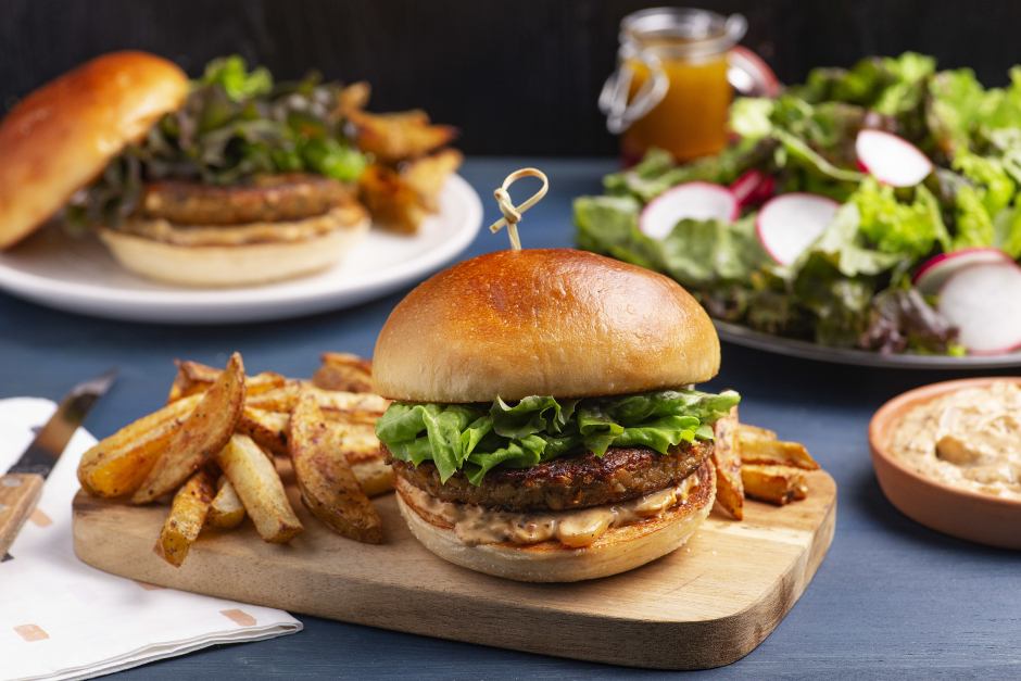 Veggie Burgers with Caramelized Onion Aioli