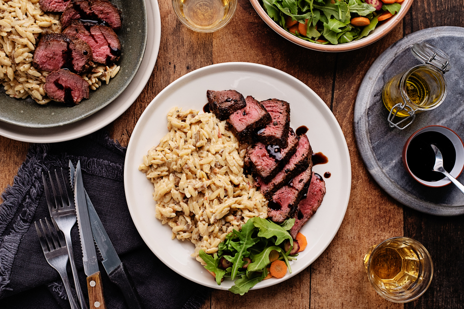 Steak with Caramelized Onion Orzotto