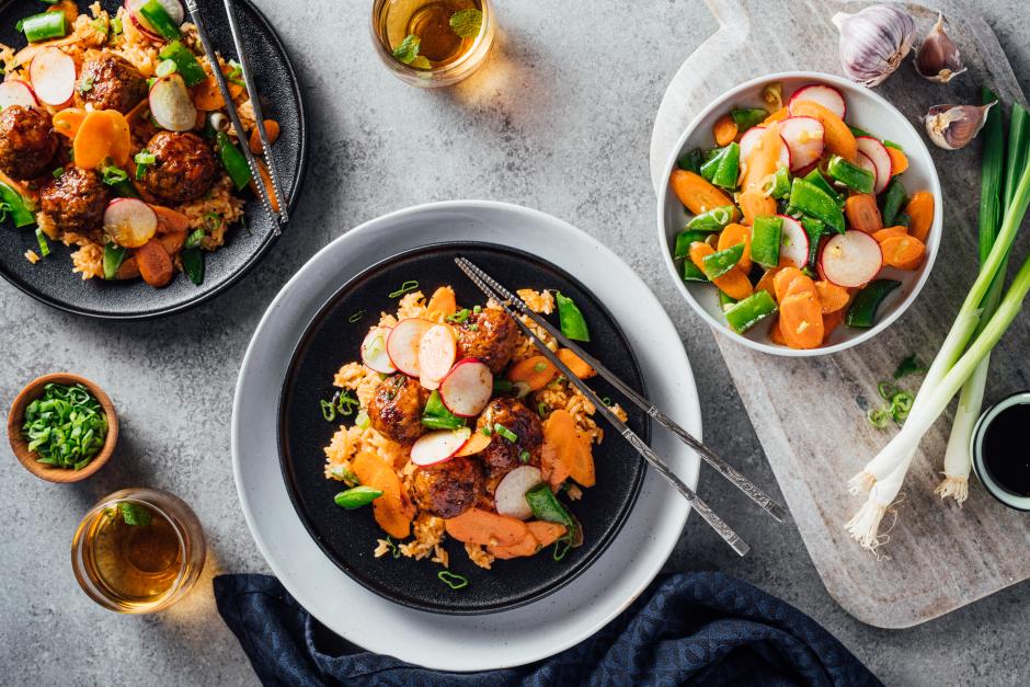 Maple-Ponzu Glazed Pork Meatballs