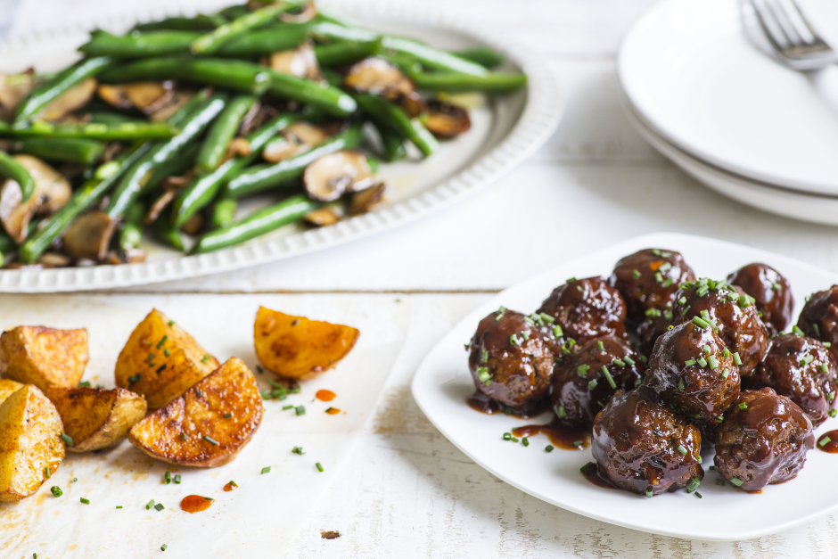 BBQ Meatballs with Sautéed Green Beans