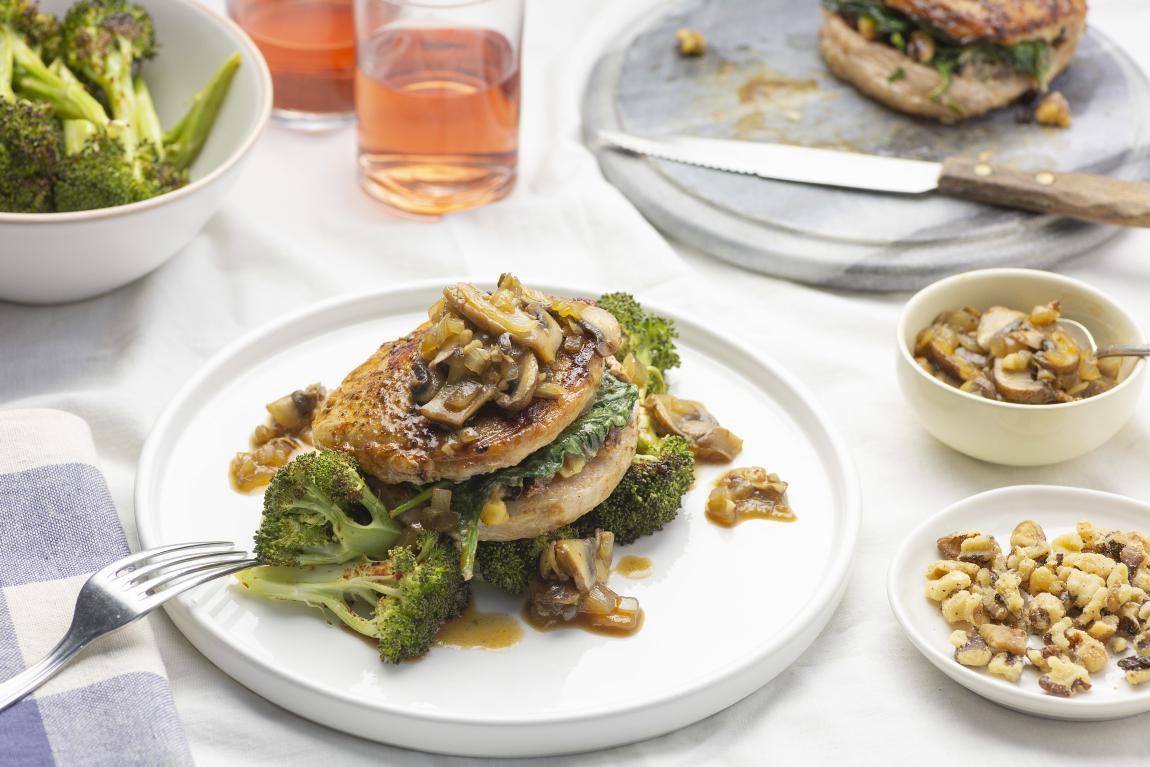 Keto Walnut & Spinach Stuffed Pork Chops