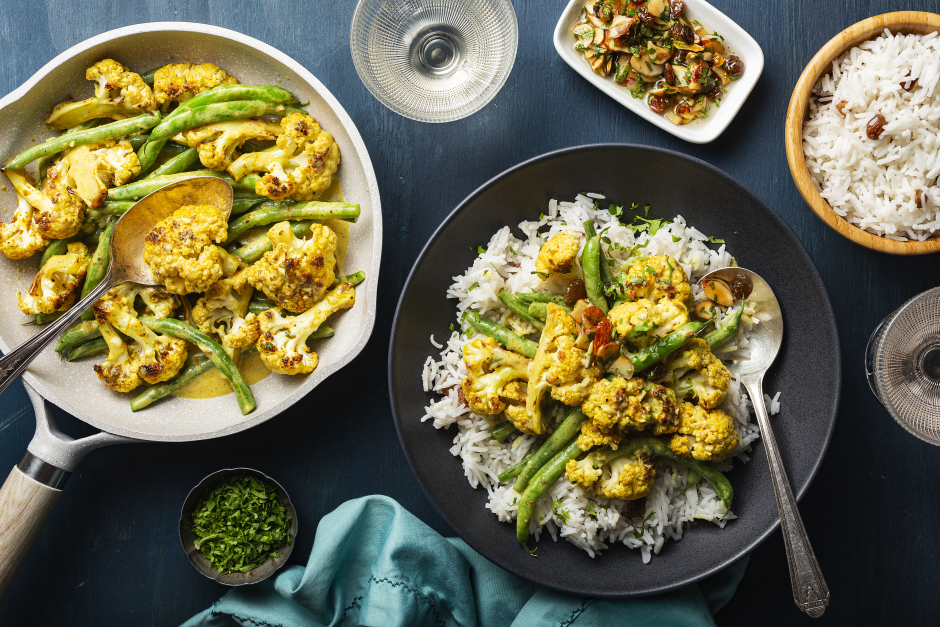 Cauliflower Korma with Almond-Raisin Agrodolce