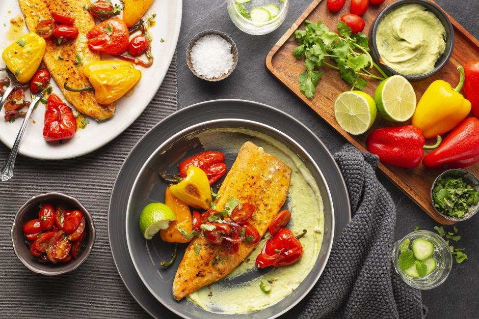 Seared Trout with Avocado Crema