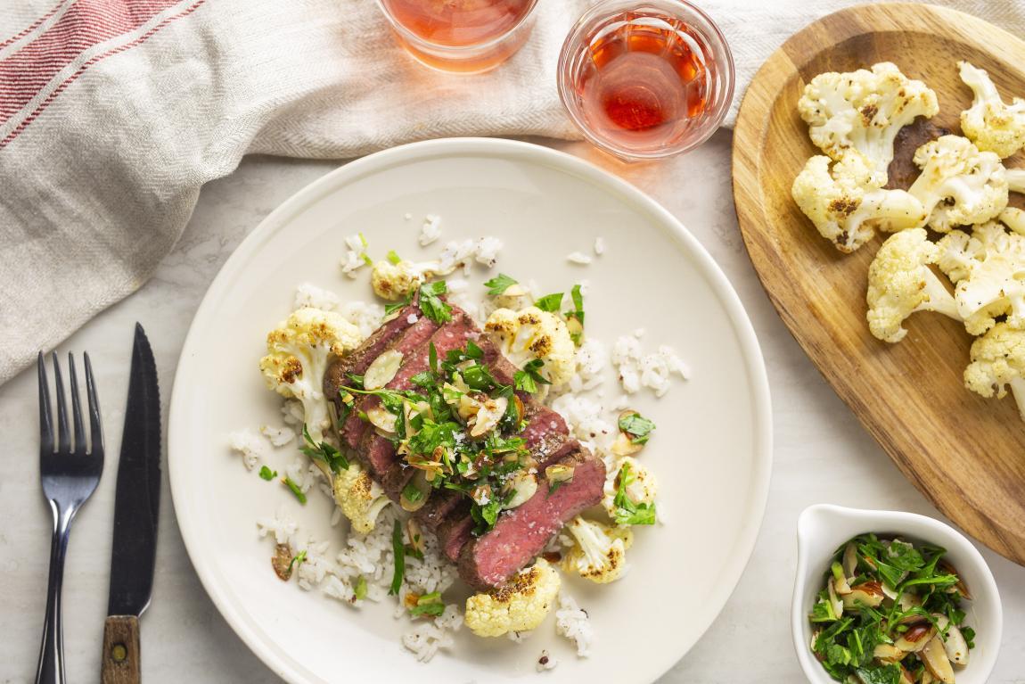 Steak with Almond Gremolata