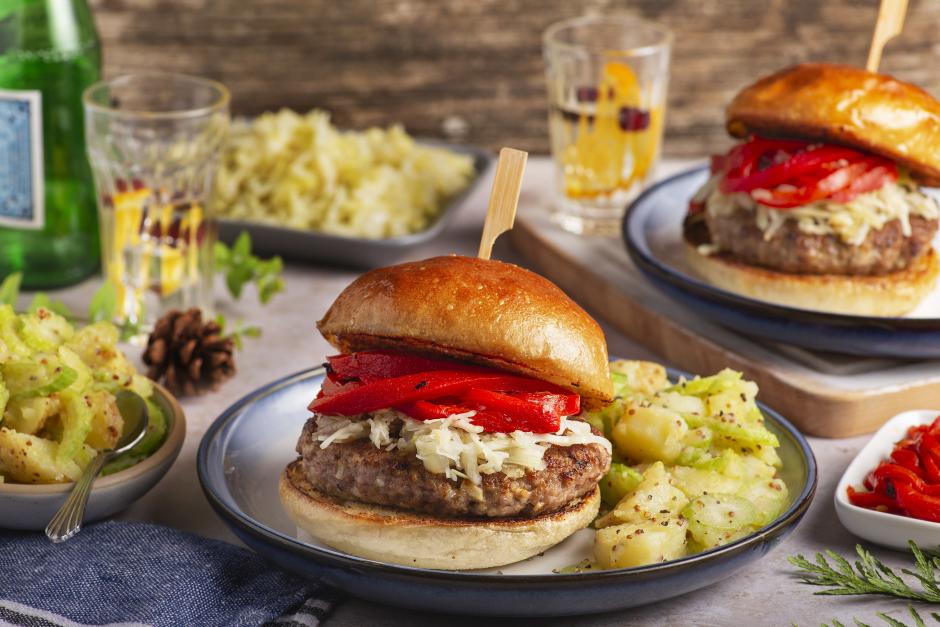 Pork Burgers with Homemade Sauerkraut