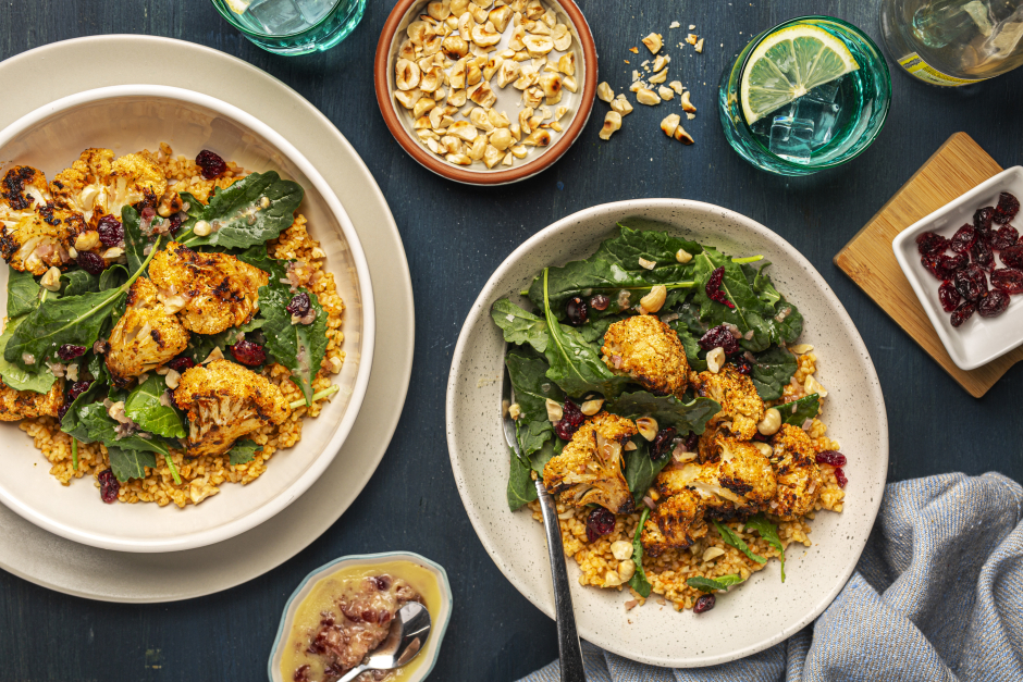 Roasted Cauliflower & Baby Greens Bulgur Bowls
