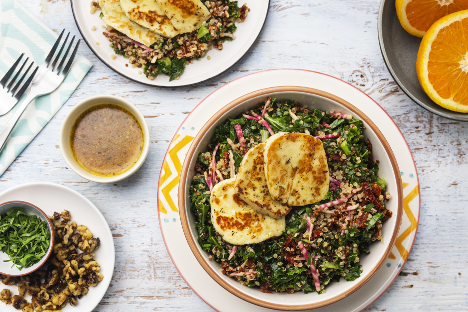 Spiced Halloumi over Warm Quinoa-Kale Salad