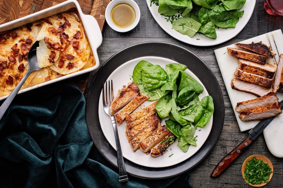 Seared Pork Chops & Celery Root Gratin