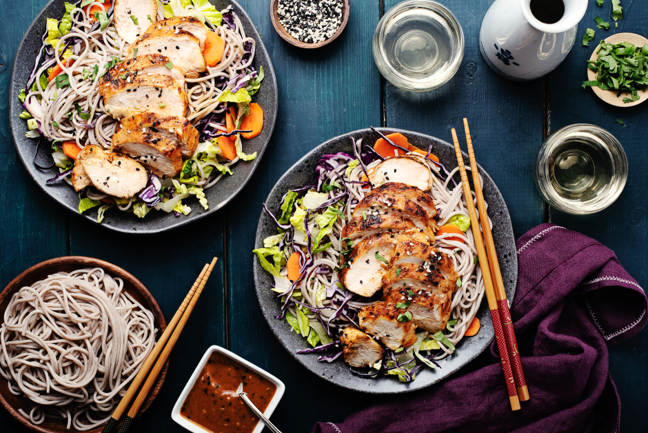 Soba Chicken Noodle Bowl with Lettuce, Cabbage & Carrots