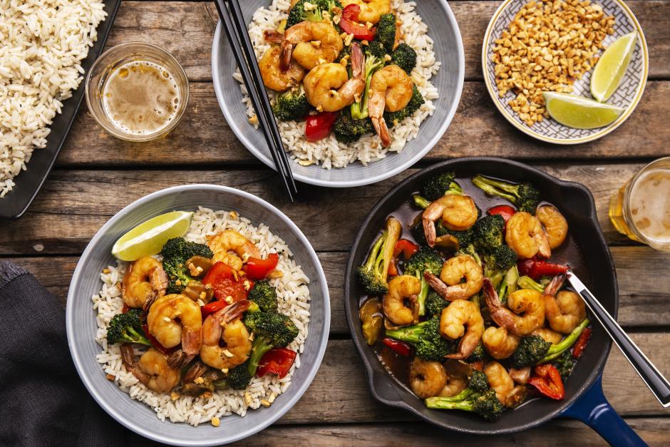 Kung Pao Shrimp with Sautéed Vegetables