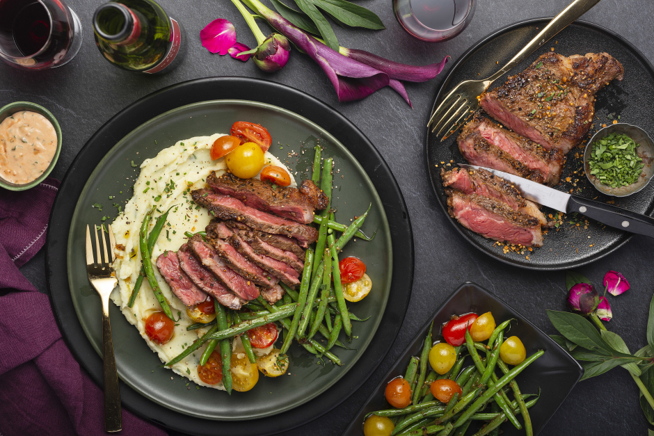Steak Spice Striploin with Creamy Herb Mash & Choron Sauce