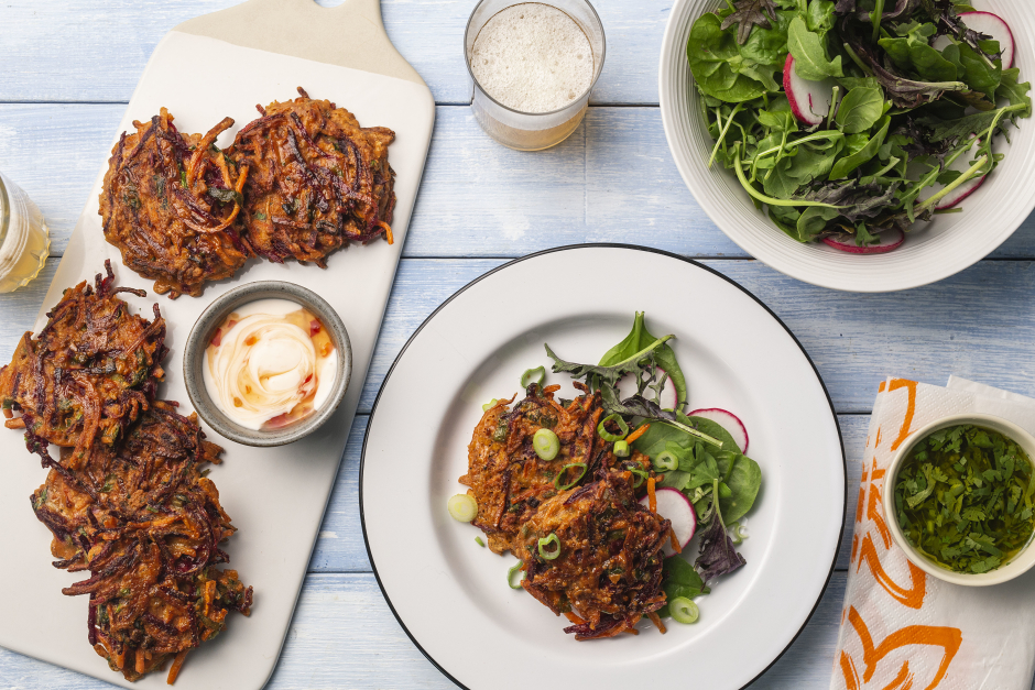 Beet-Carrot Fritters with Sweet Chili Yogurt Sauce