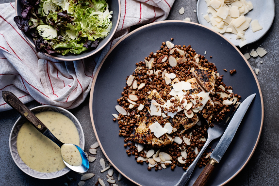Spiced Chicken Breasts with Crispy Lentils