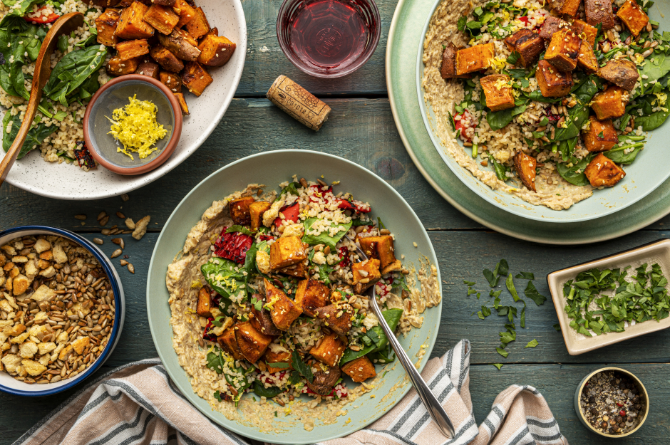 Lemony Roasted Pepper & Sweet Potato Bulgur Bowls