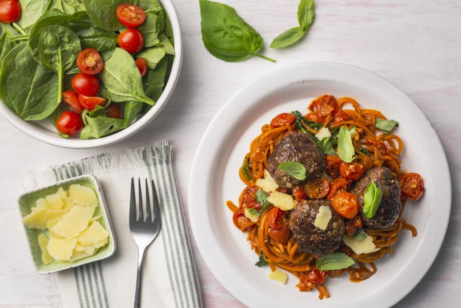 Summer Beef Meatballs with Sweet Potato 'Spaghetti'