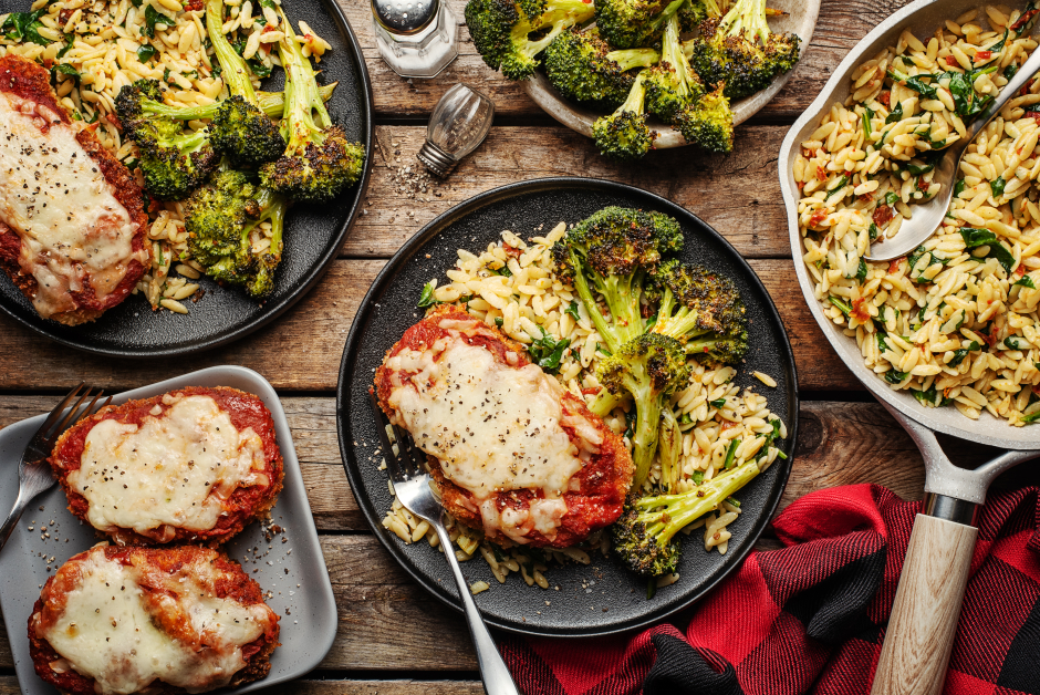 Pork Chops 'Parmigiana' with Roasted Broccoli
