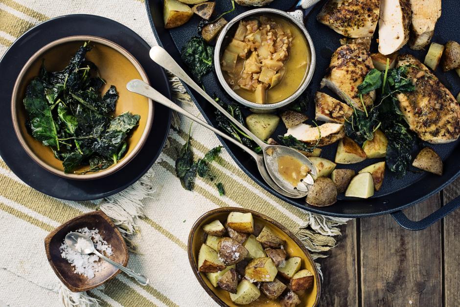 Lemon & Herb Chicken with Artichoke Pan Sauce