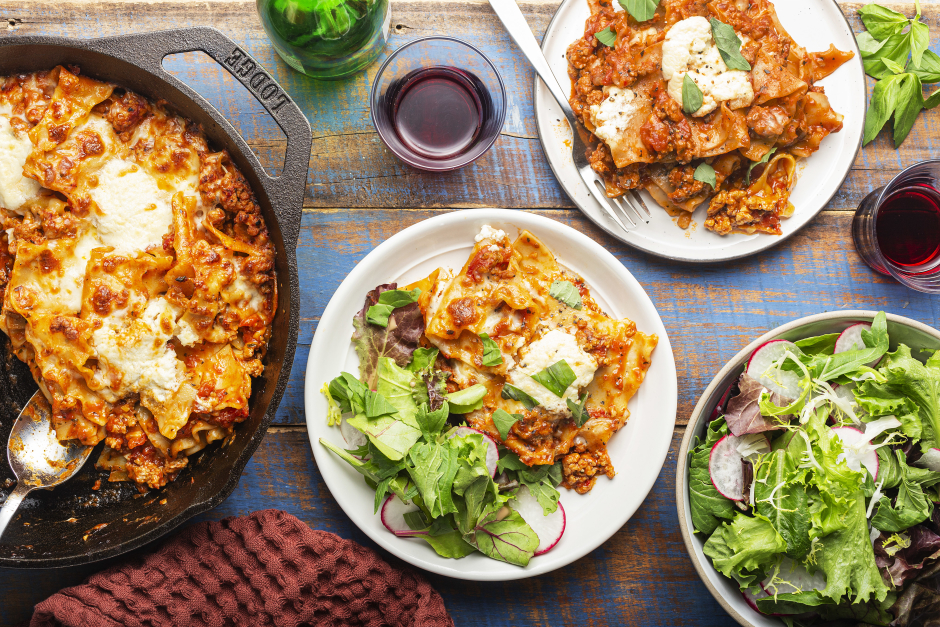 Pork, Mascarpone & Mozzarella Skillet Lasagna