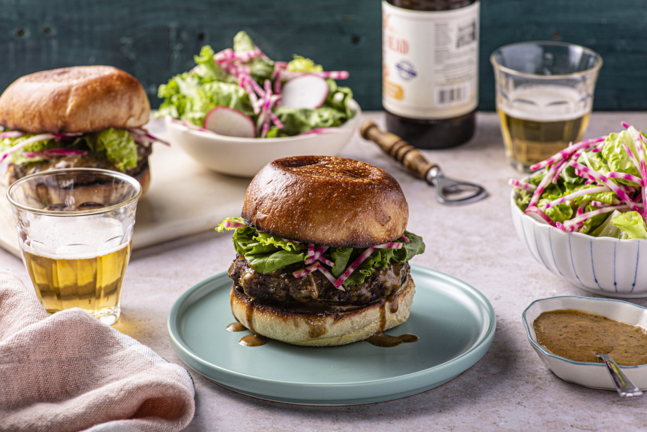 Beef Smash Burgers with Green Peppercorn Sauce