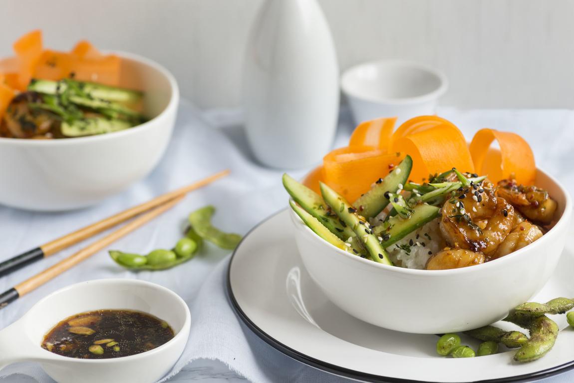 "Bols ""sushi"" aux crevettes"