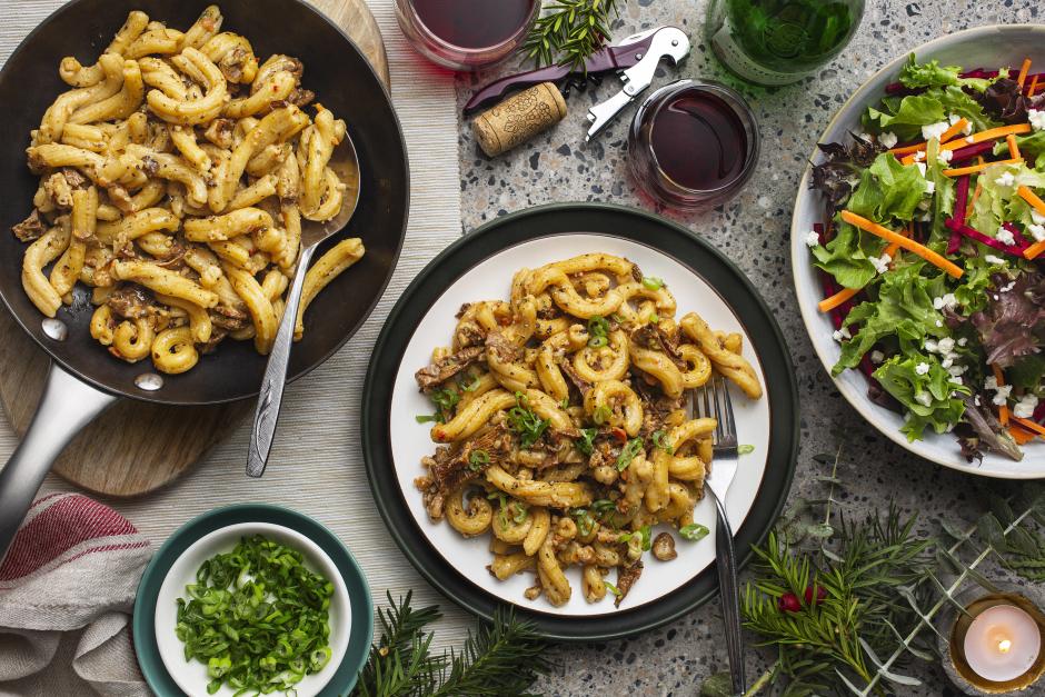 Chanterelle, Walnut & Goat Cheese Torchiette
