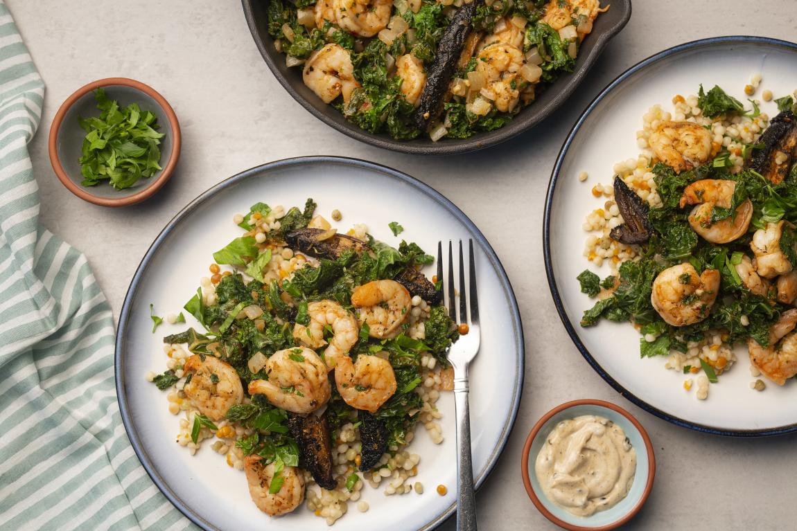 Shrimp with Toasted Couscous & Black Garlic Aioli