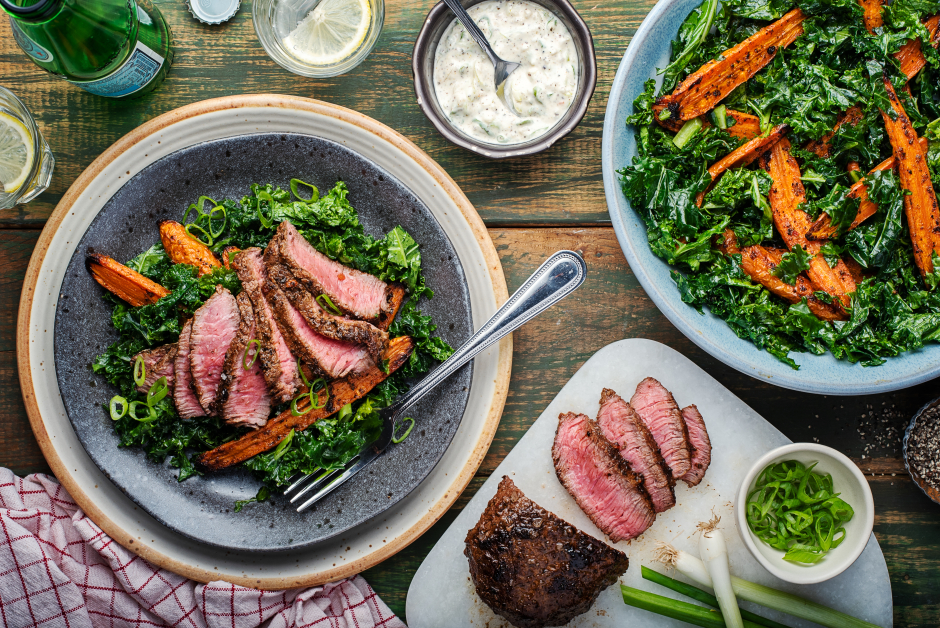 Harissa Spiced Steaks & Roasted Carrots