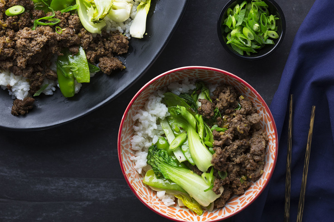 Korean Beef Bowls with Bok Choy